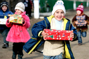 Children holding gifts