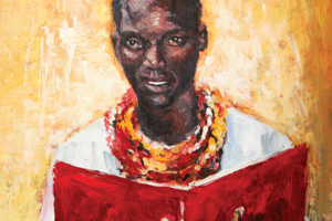 Photograph of a painting of young Majang man holding a red Bible.