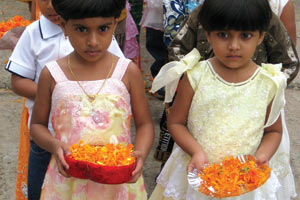 Children from the Saint Philomena Catholic Church in Mysore, India, during one celebration of the first communion.