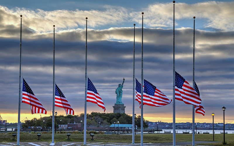 PHOTOS: US flags were lowered to half-staff after Las ...